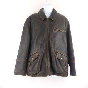 Distressed Thick Leather Moto Riding Jacket XL